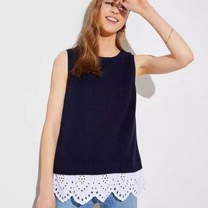 LOFT Navy Blue XL Sleeveless Knit Top NWT